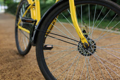 Yellow bicycle on the Boulevard. A yellow bicycle on the Boulevard Royalty Free Stock Images