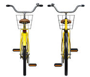 Yellow Bicycle Front and Back View Stock Images