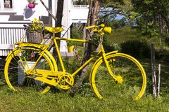 Yellow bicycle in a garden in the Eggum Stock Photo