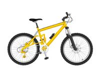 Yellow Bicycle Isolated. On white background. 3D render Stock Image
