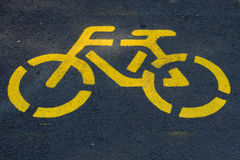 Yellow bicycle road sign Stock Image