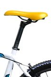 Yellow bicycle saddle Stock Image