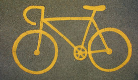 Yellow bicycle sign Royalty Free Stock Photos