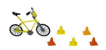 Yellow Bicycle and Traffic Cones Stock Images