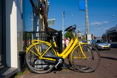 Yellow bicycles for rent. In amsterdam Stock Photo