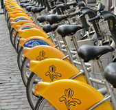Yellow bicycles of self-service Villo in Brussels Stock Photo