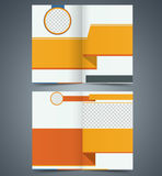 Yellow bifold brochure template design, business leaflet, booklet. Royalty Free Stock Photo