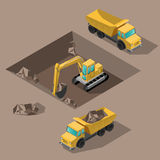 Yellow big digger builds roads gigging of hole ground. Yellow big digger builds roads gigging of ditch isometric vector illustration or icon Royalty Free Stock Photos