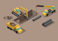 Yellow big digger builds roads gigging of hole ground and set tubes. Yellow big digger builds roads gigging of ditch and set tubes by crane isometric vector Stock Photography