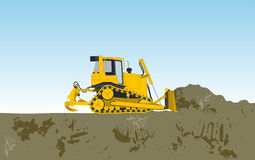 Yellow big digger builds roads gigging of hole Stock Photo