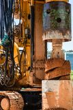 Yellow big drill machine is working. Big drill machine is working stock images