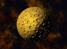 Yellow big meteorite with craters on a space backgrounds Royalty Free Stock Photography