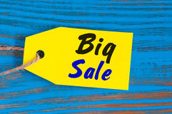 Yellow Big sale tag. Design for sales, discount, advertising, marketing price tags of clothes, furnishings, cars, food. Yellow Big sale tag. Design for sales Royalty Free Stock Photos