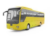 Yellow big tour bus isolated on a white background. Royalty Free Stock Photo