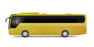 Yellow big tour bus isolated on a white background. Stock Photography