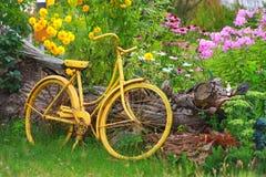 Yellow Bike. Old yellow bike in a garden Stock Image