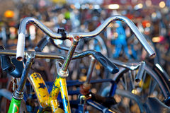 Yellow bike in bicycle park Royalty Free Stock Photos