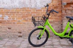 Yellow bike black wheel royalty free stock photos