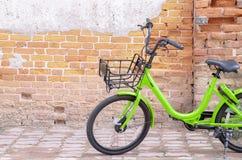 Yellow bike black wheel royalty free stock images