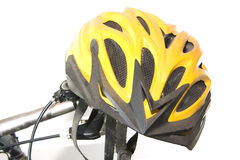 Yellow bike helmet Royalty Free Stock Photos