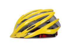 Yellow Bike helmet. Bike helmet on isolated white background with light stock image
