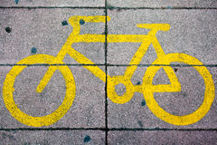 Yellow Bike Lane Sign Royalty Free Stock Image