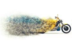 Yellow bike particle disintegration Stock Photo