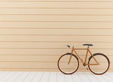 Yellow bike in the room design in 3D rendering Royalty Free Stock Photos
