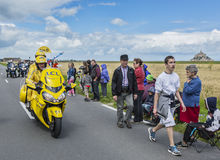 The Yellow Bike at the Start of Tour de France 2016. Ardevon, France - July 2, 2016: The Yellow bike at the start of the Tour de France at Km 0, close to Mont Stock Images