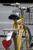 Yellow bike whit a lot of heart shapes 2 Royalty Free Stock Photo