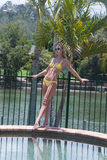 Yellow bikini. A female wearing yellow bikini around swimming pool area royalty free stock photos