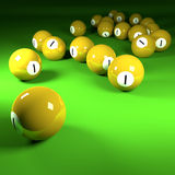 Yellow billiard balls number one Royalty Free Stock Photo