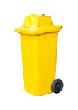 Yellow bin trash isolated white Royalty Free Stock Image
