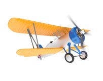 Yellow biplane isolated on white background Royalty Free Stock Photography