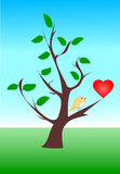 Yellow Bird And Red Heart Stock Images