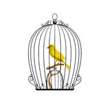 Yellow bird in a black cage. Vector illustration Stock Photo