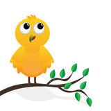 Yellow bird on a branch of a tree. On a white background stock illustration