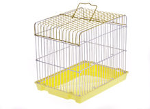 Yellow bird cage. Empty Yellow bird cage side overlooking Stock Images