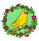 Yellow Bird canary garland plants flowers Royalty Free Stock Photos