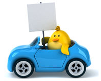 Yellow bird in a car Royalty Free Stock Photography