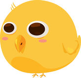 Yellow Bird Cartoon Character. Cute graphic of a yellow bird cartoon figure with big brown eyes Stock Photo
