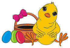 Yellow bird and easter`s objects Stock Photos