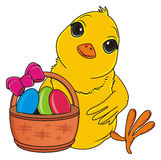 Yellow bird and easter`s symbols Royalty Free Stock Photo
