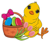 Yellow bird with flowers and easter`s basket Royalty Free Stock Photo