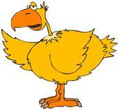 Yellow bird. This illustration depicts a yellow bird with an orange beak gesturing with its wing Royalty Free Stock Photos
