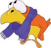 Yellow bird, in a scarf. Cartoon Royalty Free Stock Photography