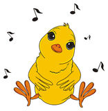 Yellow bird sing. Chick sit and sing and black notes fly Stock Images