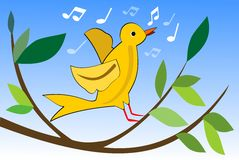 Yellow bird singing on branch with green leaves, cute spring theme, vector illustration for easter or spring design Royalty Free Stock Images