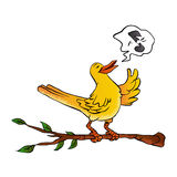 Yellow bird singing cartoon Stock Photos