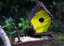 Yellow birdhouse. Small yellow handmade birdhouse,closeup look Stock Image